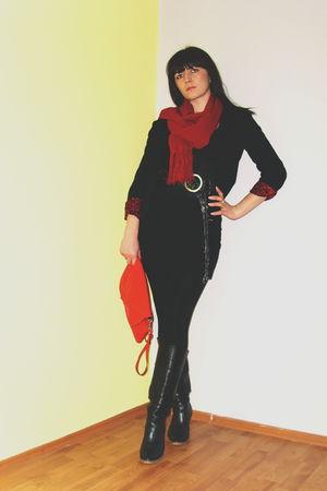 black Zara blazer - H&M leggings - red Mango purse - red scarf - Retro boots - b