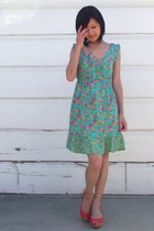 turquoise blue Forever 21 dress - carrot orange Call it Spring wedges