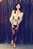 black Mossimo top - burnt orange leopard print Forever 21 leggings