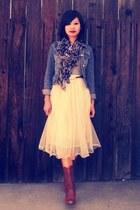 mesh tulle Ebony Eyes skirt - TUK boots - denim H&M jacket