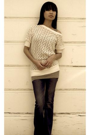navy Silence  Noise jeans - light pink crochet knit JC Penney top