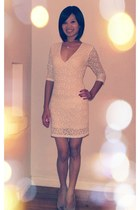 off white lace overlay Olivaceous dress