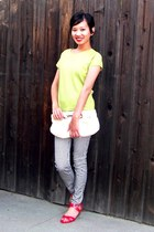 chartreuse short sleeve merona top - ivory clutch Rampage bag