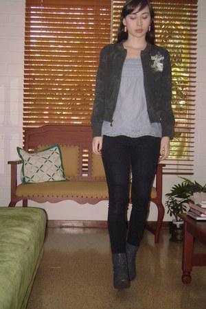 charcoal gray Levis jacket - charcoal gray Vlez boots - Zara jeans