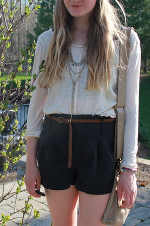 American Eagle shirt - leather quality ROOTS purse - American Eagle shorts