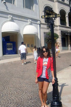 red Marc by Marc Jacobs blazer - navy Celine bag - navy Abercrombie fitch shorts
