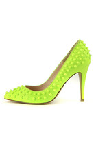 Lime Stud Pumps (Handmade Shoes)