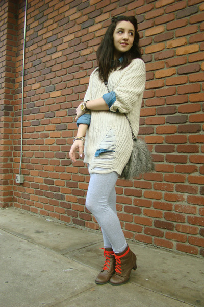 off white Yes Style sweater - brown boots - silver leggings - blue shirt