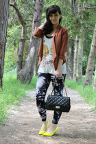 black Sirens leggings - tawny blazer - yellow Aldo bag - cream Forever 21 top