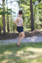 navy thrifted shorts - light pink thrifted blouse
