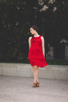 red dress - bronze thrifted heels