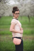 light pink vintage blouse - navy kohls jeans - pink Claires bag