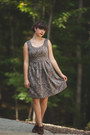 Gray-lace-dress-thrifted-dress-dark-brown-oxfords-payless-heels