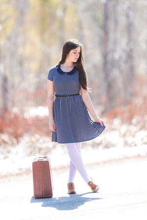 navy polka dots Old Navy dress - white Target tights - navy top