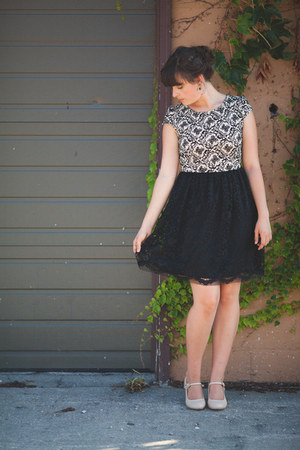 black Local store dress - red vintage Local store hat - neutral modcloth heels