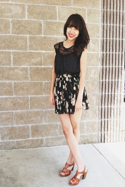 black Lush blouse - black Delias skirt - brown Kenneth Cole heels