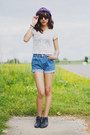 Navy-vintage-boots-sky-blue-vintage-denim-shorts-black-glasses