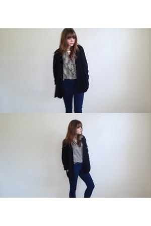 black cardigan - navy skinny jeans jeans - ivory shirt - silver collar necklace