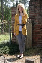 blue American Eagle shirt - mustard PacSun cardigan - charcoal gray PacSun pants