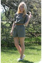 army green homemade romper - cream Converse sneakers
