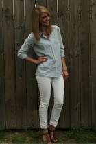 white Levis jeans - light blue merona shirt - dark brown Bandolino sandals