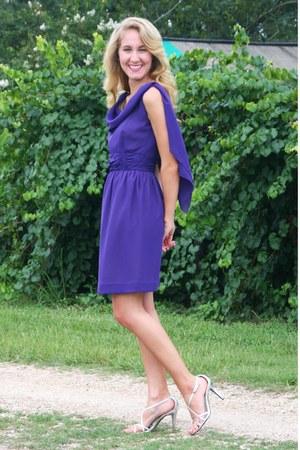 purple vintage dress - silver Ralph Lauren heels