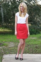 white Gap t-shirt - red vintage skirt - black liz claiborne heels