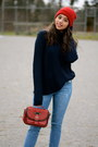 Blue-skinny-forever-21-jeans-red-forever-21-hat-navy-knit-h-m-sweater