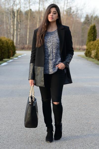 black Forever 21 jacket - black Zara boots - black J Brand jeans
