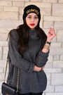 Black-faux-leather-yesstyle-boots-gray-turtleneck-mendocino-sweater