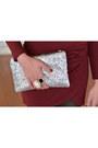 Brick-red-wrap-ebay-dress-silver-clutch-lookbook-store-bag