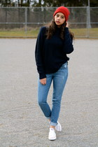 blue skinny Forever 21 jeans - red Forever 21 hat - navy knit H&M sweater