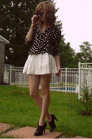 black polka dot Target cardigan - white mesh back f21 dress
