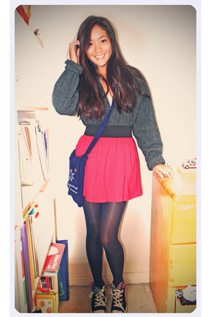 gray cardigan - red Forever 21 skirt - black shoes
