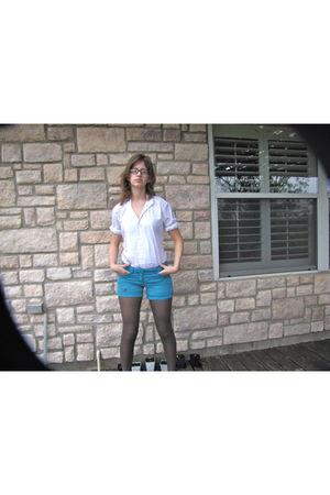 white Fashion Gear blouse - blue Zinc shorts - gray Forever 21 tights - black Je