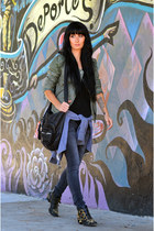Muubaa jacket - Chloe boots - free people jeans - Alexander Wang bag