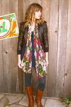 Forever 21 jacket - Forever 21 dress - Target scarf - Target tights - boots