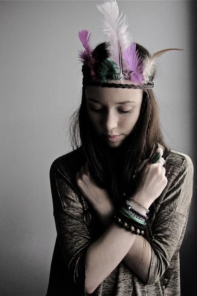 gold H&M shirt - green H&M accessories - purple Glitter bracelet - green H&M bra