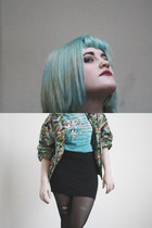 aquamarine Mickey Mouse jacket - black black boring  skirt - aquamarine thrift t