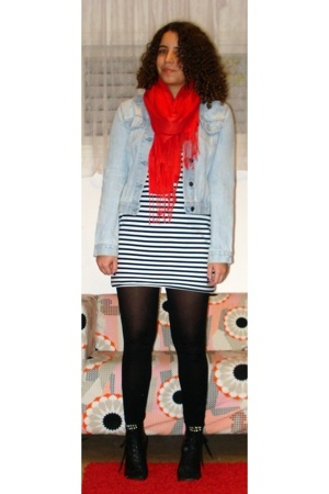 jacket - shoes - scarf - tights - dress