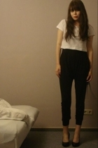black harem pants Topshop - black wedges H&M - white crop tee H&M