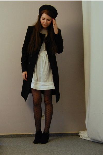 black Zara coat - black H&M belt - white Zara dress - black Buffalo - H&M tights
