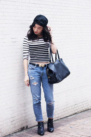 striped top Bershka top - cut-out boots Stradivarius boots
