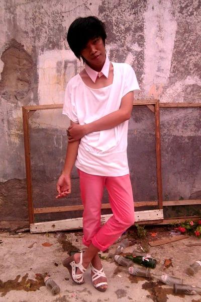 pink hongkong brand jeans - Cool Vintaage top - collar custom made tie