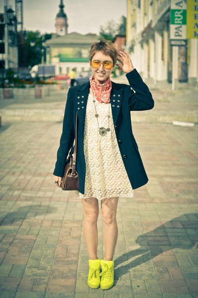 vintage blazer - lace Ebay dress - neon Ebay sneakers