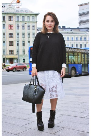 black Mango sweater - ivory Incity shirt - black H&M bag