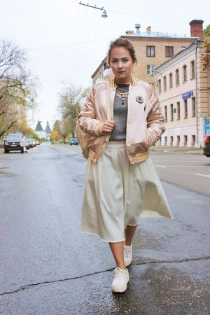 cream pull&bear coat - ivory Melissa shoes - gray pull&bear sweater