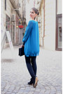 Blue-new-look-dress-black-new-yorker-boots-black-h-m-leggings