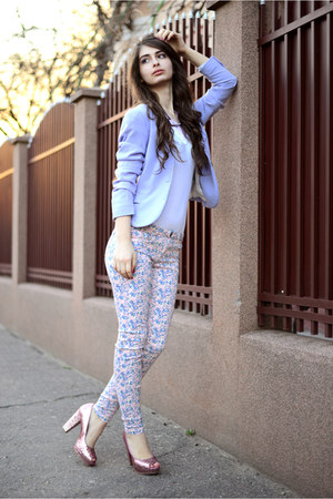 white c&amp;a blouse - pink H&amp;M shoes - periwinkle H&amp;M blazer