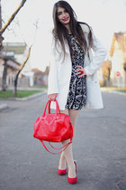 red La Strada shoes - blackwhite H&M dress - white H&M coat - red H&M bag